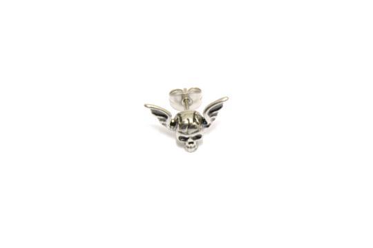 Ein Ohrstecker Schädel mit Flügeln 316 Edelstahl