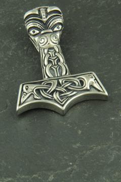 Großer Odins Hammer mit Maske und Raben, Wikinger Halsketten Anhänger aus Edelstahl