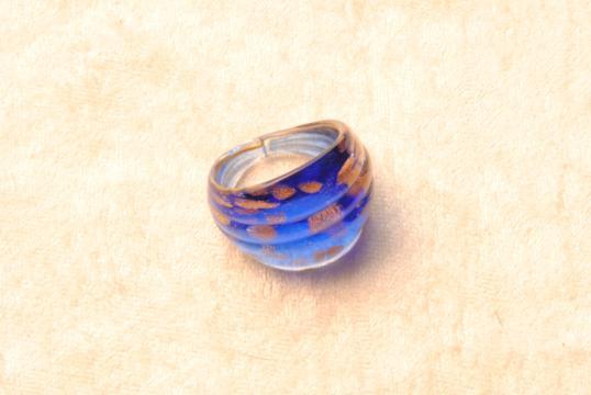 Muranoglas Ring blau/gold