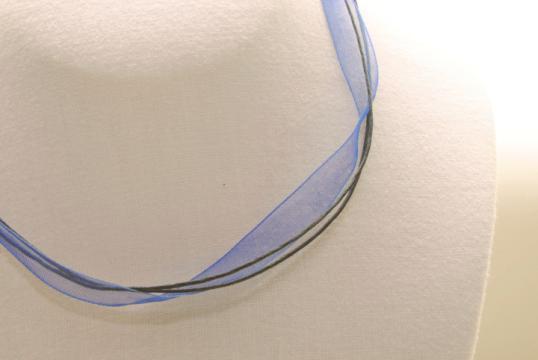 Organza Halsband, Halskette in blau ca. 45cm