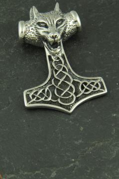 Thors Hammer aus Edelstahl, Schmuckstück für Halsketten mit Wolfskopf