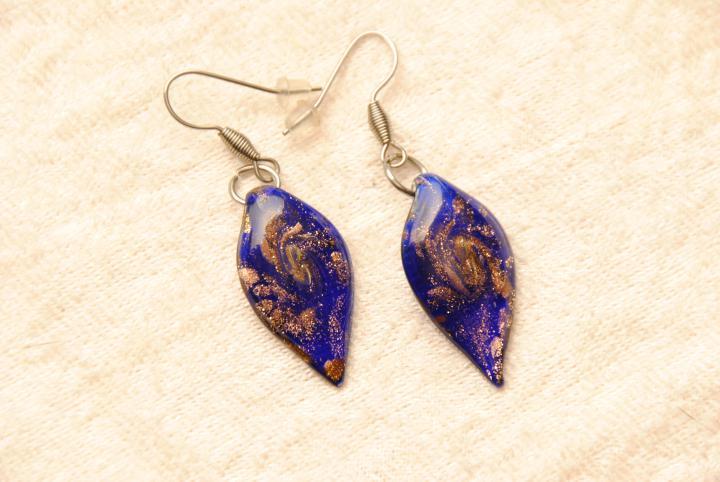 Schmuck>Muranoglas> Ohrringe aus Muranoglas - blau - Ohrhänger Blatt ...