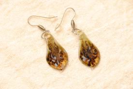 Glas Ohrhänger aus Muranoglas goldfarben Glasanhänger Blatt Form