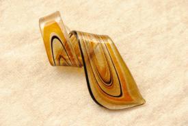 Glas Schmuck Murano Glas - Anhänger Helix Form  - braun