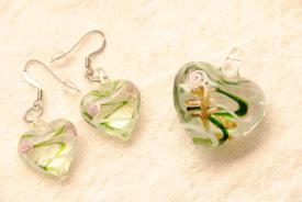 Glas Schmuckset - Herz - grün - Muranoglas