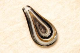 Glasschmuck im Murano-Stil - schwarz - Anhänger Tränen Form