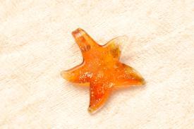 Glasschmuck Muranoglas - rot - kleiner Seestern Goldsand