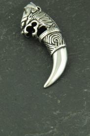 Große Kralle mit Drachenkopf, 3D Halsketten Schmuck aus Edelstahl