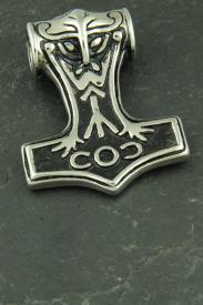 Großer Thors Hammer mit Maske, Wikinger Halsketten Schmuck aus Edelstahl