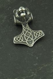 Kleiner Thors Hammer mit Wolfskopf, Halsketten Anhänger aus Edelstahl
