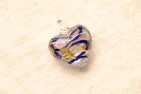 Muranoglas Schmuck - blau / weiss - Herz Anhänger