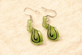 Ohrhänger, Ohrringe aus Muranoglas - grün - Helix Anhänger