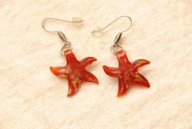 Ohrhänger aus Muranoglas Seestern Anhänger in rot