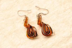 Ohrhänger im Murano-Stil - rot - Helix Anhänger