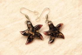 Ohrhänger im Murano-Stil - schwarz - Seestern Anhänger