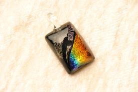 Schmuck Anhänger aus Dichroic Glas, Regenbogen, rechteckig