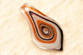 Schmuck aus Muranoglas - rot - Anhänger Blatt Form