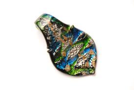 Schmuck aus Muranoglas - schwarz - Anhänger Blatt Form