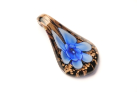 Schmuck aus Muranoglas - schwarz blau gold - Tropfen Form mit Blume