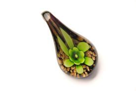 Schmuck aus Muranoglas - schwarz-grün - Tropfen Form mit Blume