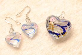 Schmuck Set - Herz - blau - Murano-Stil Anhänger & Ohrhänger