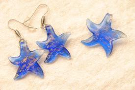 Seestern Schmuck Set - blau - kleiner Anhänger und Ohrhänger