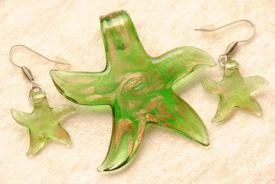 Seestern Schmuck Set - grün - Anhänger und Ohrhänger im Murano-Stil