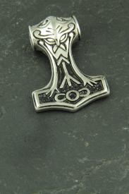 Thors Hammer mit Maske, Edelstahl Wikinger Anhänger für Halsketten